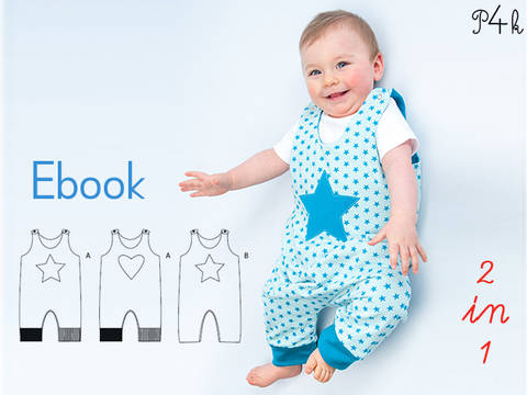 "Baby one-piece pattern, dungaree, overall, jumpsuit, playsuit, lined, reversible, girls boys, Ebook pattern pdf ""Alberto"" from Pattern4kids bei Makerist sofort runterladen"