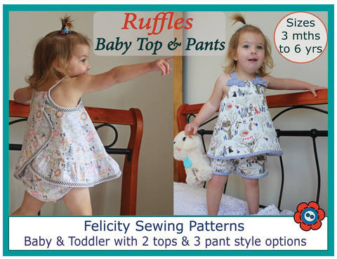 Download Baby Romper - sewing pattern & tutorial - Ruffles Top & Pants  immediately at Makerist