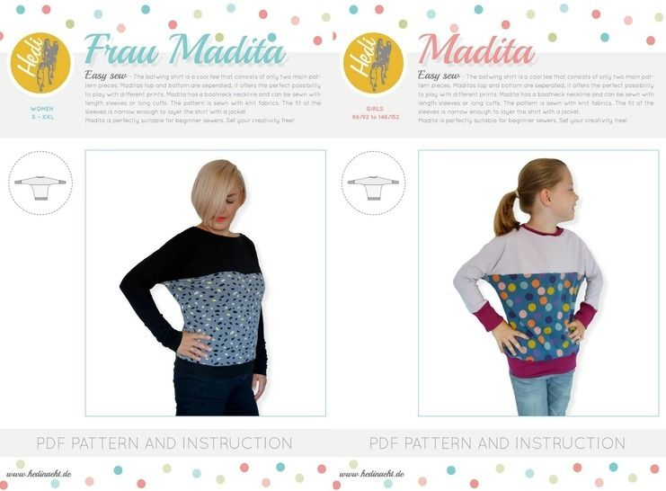 "Download Set: ""Frau Madita"" and  ""Madita"" for kids and women.  - Sewing Patterns immediately at Makerist"