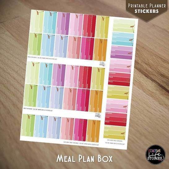 Ausdruckbare Sticker: Meal Plan Boxes - Bastelanleitungen bei Makerist sofort runterladen