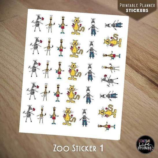 Ausdruckbare Sticker: Zoo Sticker 1 - Bastelanleitungen bei Makerist sofort runterladen