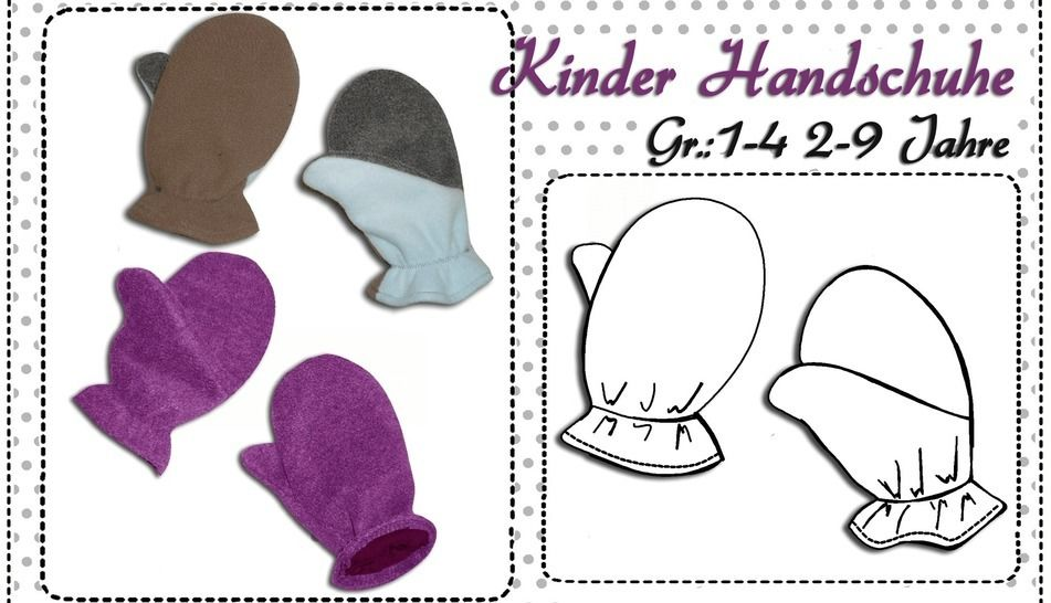 Schnittmuster Kinder Handschuhe 2-9 Jahre - Nähanleitungen bei Makerist sofort runterladen