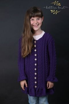 Download Anael - Romantic Cable Cardigan for small girls 3 years size 98 7 104 - Knitting Patterns immediately at Makerist