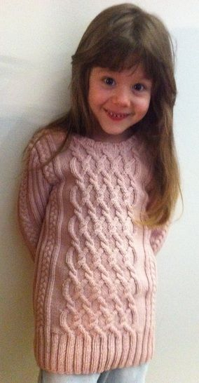 Download Charmeine Pink Cable Jumper Sweater for Girls 5 years Size 122  - Knitting Patterns immediately at Makerist