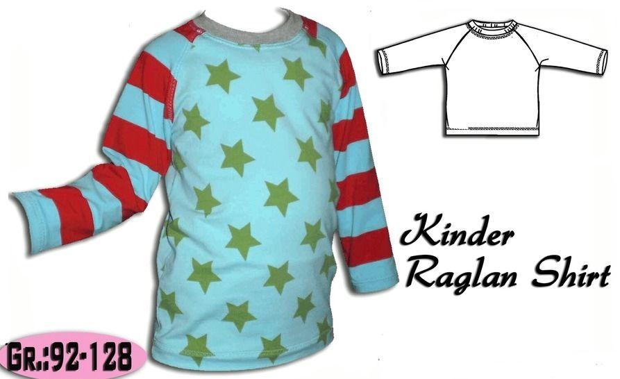 Schnittmuster & Anleitung Raglan Shirt Gr:92-128 - Nähanleitungen bei Makerist sofort runterladen