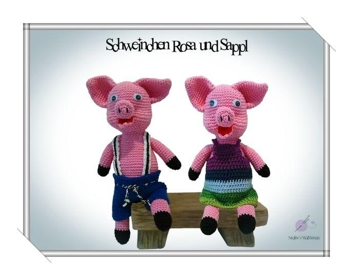 Häkelanleitung: Schweinchen Rosa und Sappl - Häkelanleitungen bei Makerist sofort runterladen