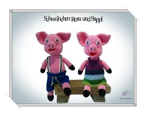 Häkelanleitung: Schweinchen Rosa und Sappl bei Makerist sofort runterladen
