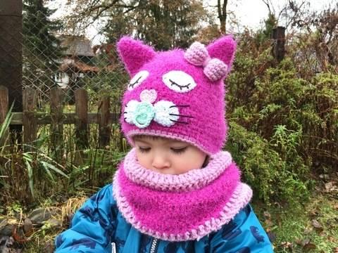 Häkelanleitung Kindermütze Loop Set PINK KITTY  bei Makerist sofort runterladen
