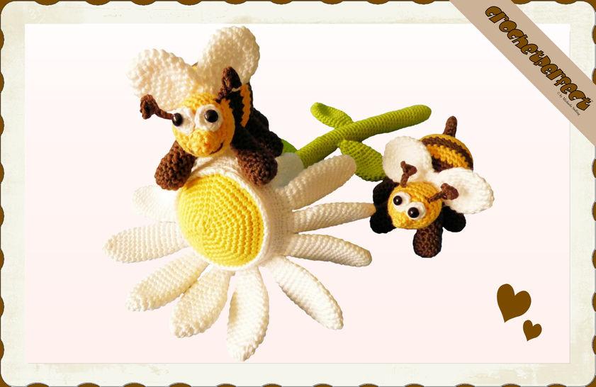 Häkelanleitung (021): Gänseblümchen mit Bienchen - Häkelanleitungen bei Makerist sofort runterladen