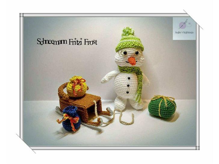 Häkelanleitung: Schneemann Fritzi Frost mit Schlitten - Häkelanleitungen bei Makerist sofort runterladen