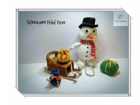 Häkelanleitung: Schneemann Fritzi Frost mit Schlitten  bei Makerist sofort runterladen