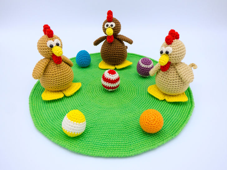 Häkelanleitung: Hühnchen mit Eiern - Häkelanleitungen bei Makerist sofort runterladen