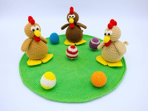 Häkelanleitung: Hühnchen mit Eiern bei Makerist sofort runterladen