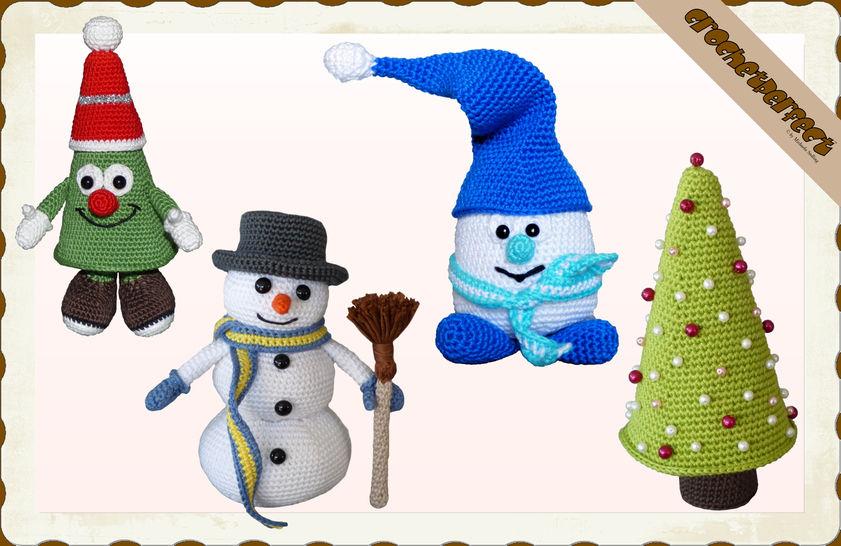 Häkelanleitung (054): Weihnachtsset - Häkelanleitungen bei Makerist sofort runterladen