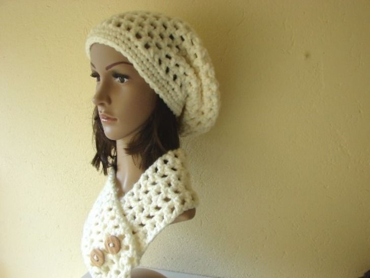 Download slouchy hat and short scarf super bulky - crochet pattern - Crochet Patterns immediately at Makerist