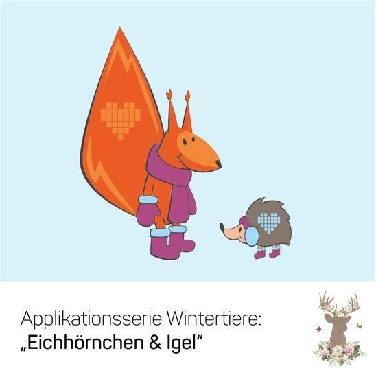 Applikationsvorlage Wintertiere Eichhörnchen Igel