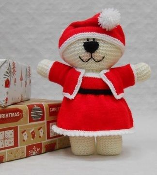 Download Mrs Claus Teddy Bear Costume Knitting Pattern - Knitting Patterns immediately at Makerist