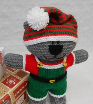 Download Santa's Elf costume knitting pattern to fit Teddy Bear - Knitting Patterns immediately at Makerist