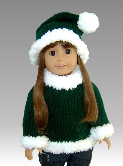"Download Christmas Santa Hat, Mrs. Claus 18"" doll set - Knitting Patterns immediately at Makerist"