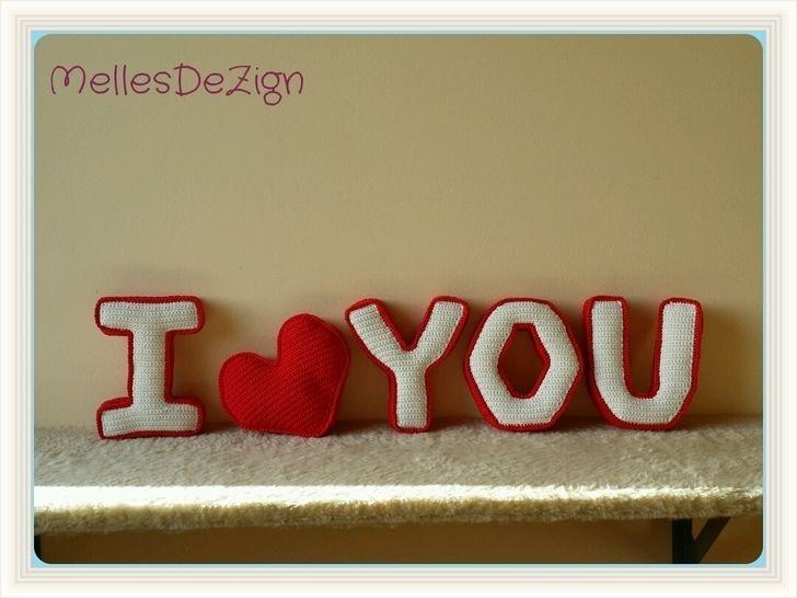 "Häkelanleitung 3D Buchstaben "" I YOU "" incl. 3D Herz - Häkelanleitungen bei Makerist sofort runterladen"