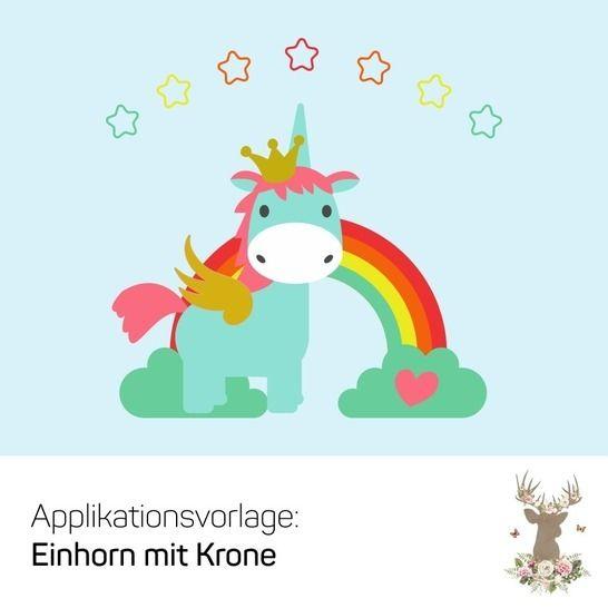 Applikationsvorlage Einhorn Mit Krone