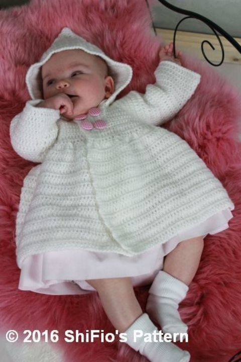 Download CP351 CROCHET PATTERN For Baby Hooded Jacket Double Breasted in 3 Sizes PDF 351 immediately at Makerist