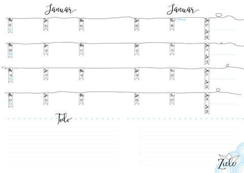 Kalendereinlagen A5, PDF zum selberdrucken, 2017, Filofax, 1M/2S bei Makerist sofort runterladen
