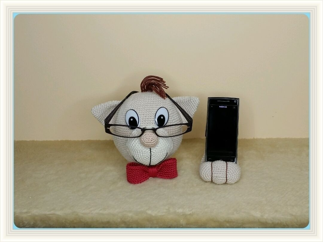 Häkelanleitung - Brillenhalter und Handyhalter Katze