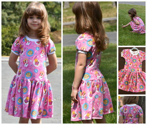 Download GIRLS DRESS, TUNIC, SEWING PATTERN, LONG SLEEVES, SHORT SLEEVES, KNIT FABRICS, EASY BEGINNER immediately at Makerist