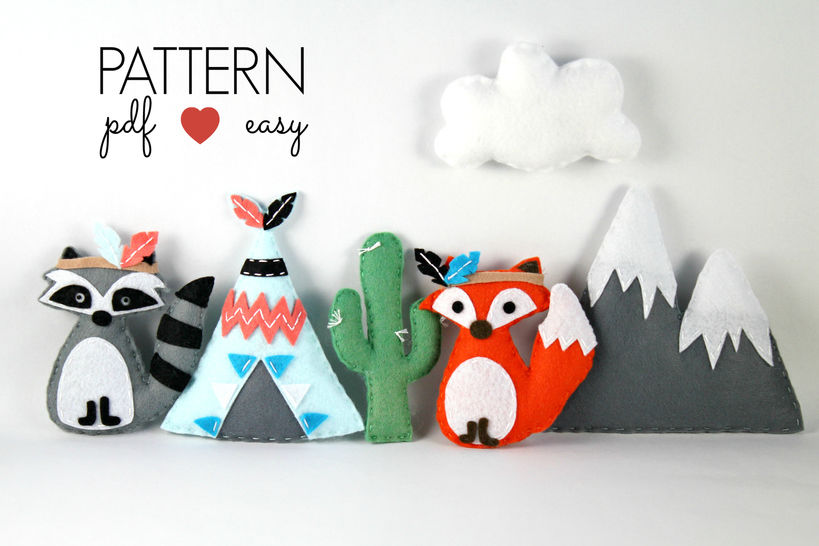 Download Tribal Felt Sewing Pattern - Tribal Baby Mobiles - Raccoon - Fox - Teepee - Snowy Mountain - Cactus - Sewing Patterns immediately at Makerist
