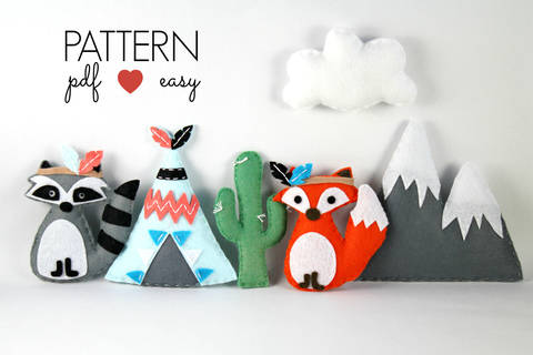 Download Tribal Felt Sewing Pattern - Tribal Baby Mobiles - Raccoon - Fox - Teepee - Snowy Mountain - Cactus immediately at Makerist