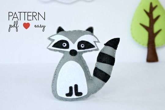 Download Felt Raccoon PDF Sewing Pattern - Woodland Plush Toy – Favor – Topper - Baby Mobile - Ornament - Woodland Animal Pattern - Sewing Patterns immediately at Makerist