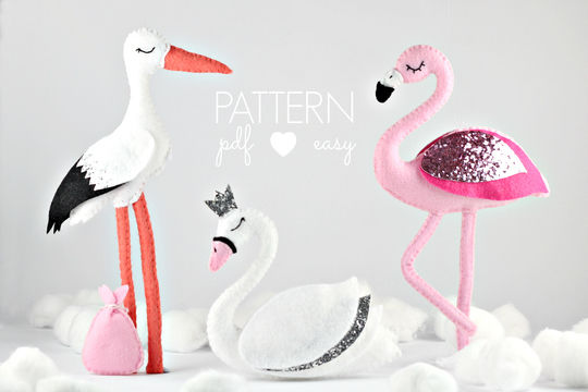 Download Felt Bird Sewing Patterns - Flamingo - Swan - Stork - Sewing Patterns immediately at Makerist