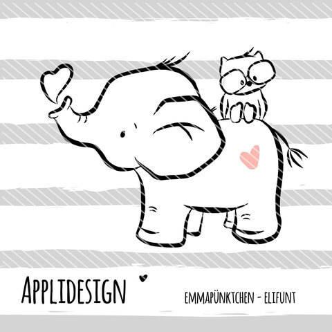 emmapünktchen ® - applikationsvorlage elifant bei Makerist sofort runterladen