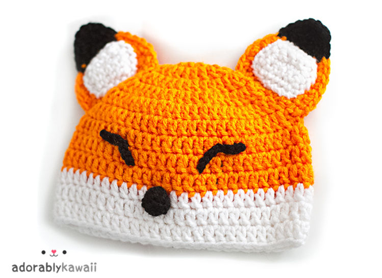 Sleepy Fox Baby Hat Crochet Pattern