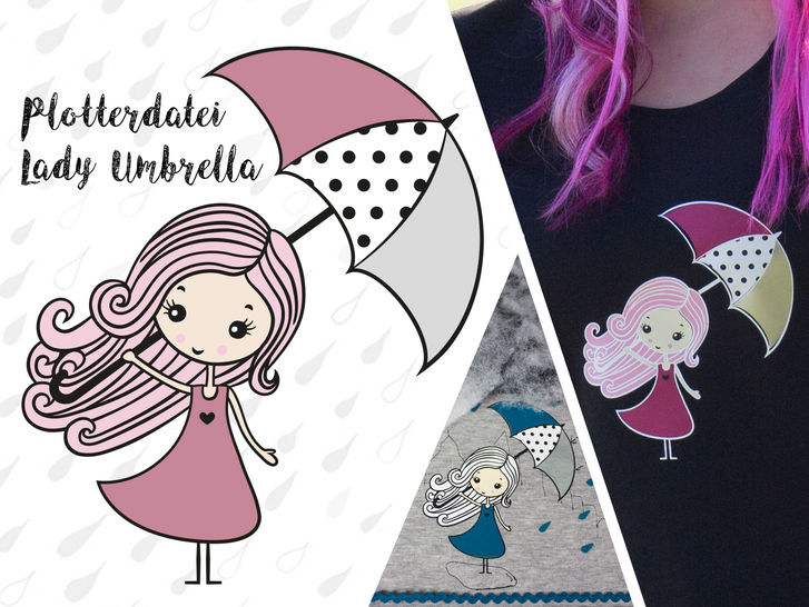 Plottervorlage Lady Umbrella - Plotterdateien bei Makerist sofort runterladen