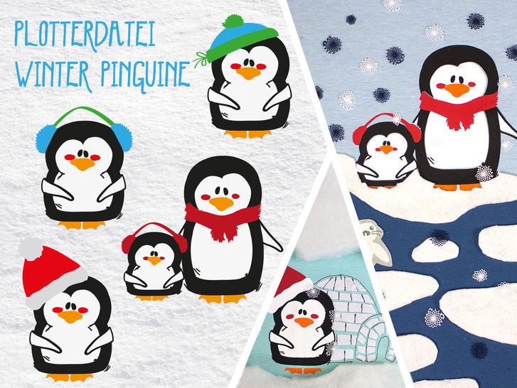 Plottervorlage Winter Pinguine - Plotterdateien bei Makerist sofort runterladen