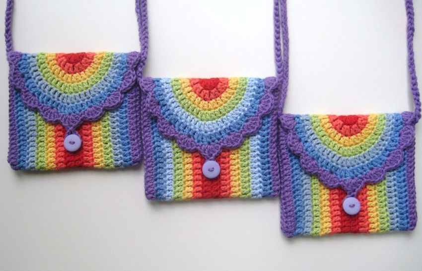 Download Crochet bag, Rainbow bag, Pattern No14, in both UK and US crochet terms - Crochet Patterns immediately at Makerist