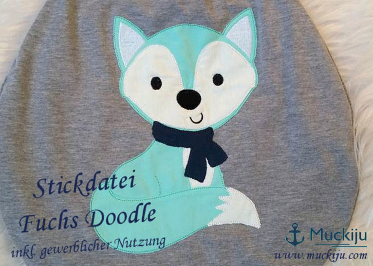 Stickdatei Fuchs 13x18 Doodle - Stickdateien bei Makerist sofort runterladen