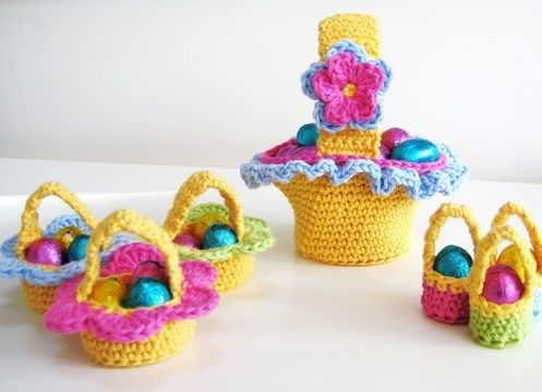 Download Crochet bags, 3 Easter Baskets, Pattern No17, in both UK and US crochet terms - Crochet Patterns immediately at Makerist