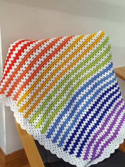 Download Crochet Blanket, Rainbow, Pattern No24, in both UK and US crochet terms - Crochet Patterns immediately at Makerist