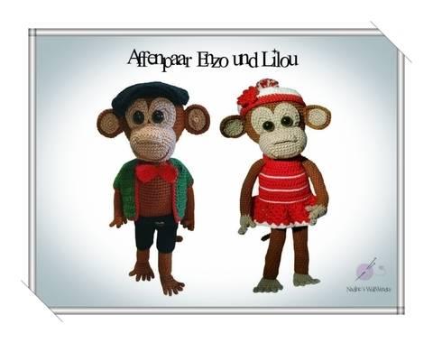 Häkelanleitung: Affenpaar Enzo und Liliu bei Makerist sofort runterladen