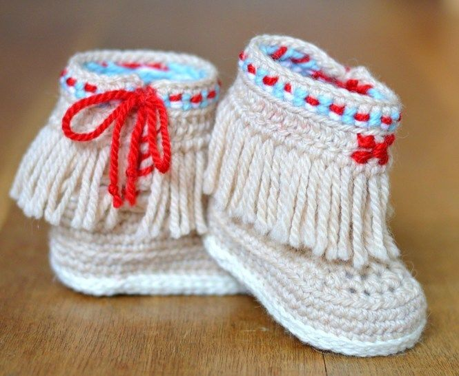 Baby Booties Fringe Moccasins