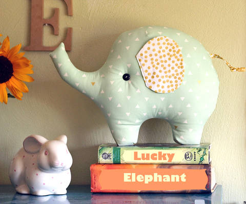 Download Lucky the Elephant Pillow PDF Sewing Pattern immediately at Makerist