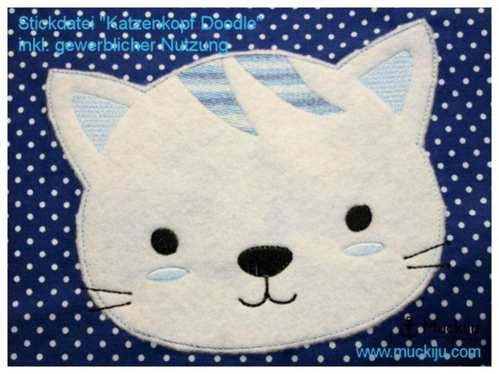Stickdatei Katze Kopf 10x10 Doodle - Stickdateien bei Makerist sofort runterladen