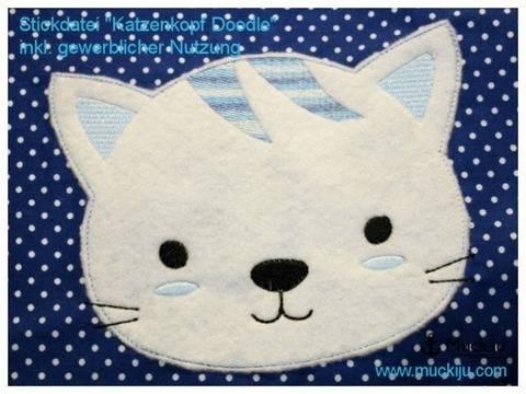 Stickdatei Katze Kopf 16x26 Doodle bei Makerist sofort runterladen
