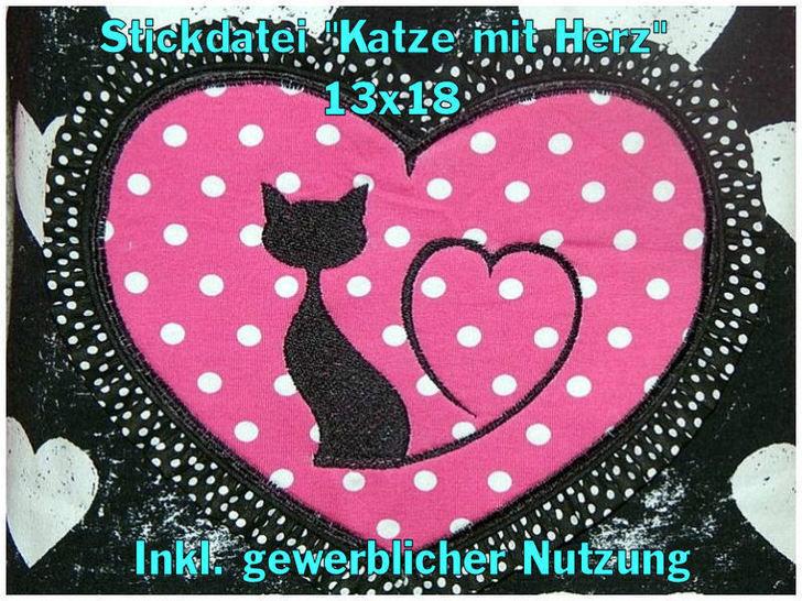 Stickdatei Katze mit Herz 13x18 Füllstich - Stickdateien bei Makerist sofort runterladen