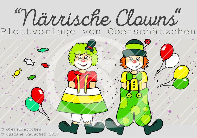 Plotterdatei Plottvorlage Clowns Karneval Fastnacht - Plotterdateien bei Makerist sofort runterladen