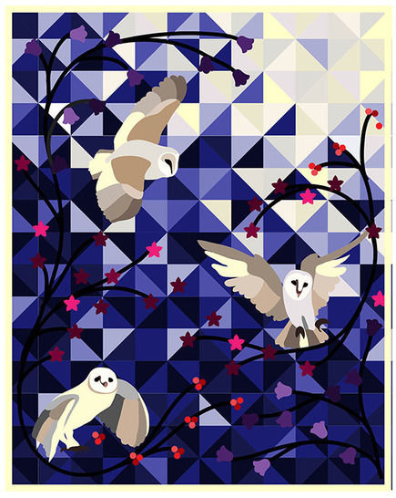 Download Barn owls applique quilt - pdf pattern and tutorial - Patchwork & Quilting immediately at Makerist