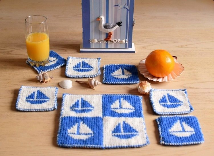 Download Boat Coasters and Table Mat - Knitting Patterns immediately at Makerist